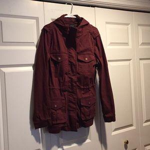 Cranberry cotton cargo jacket NWT